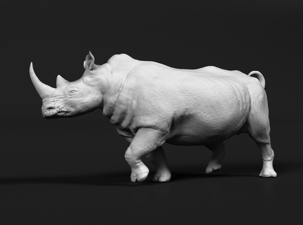 White Rhinoceros 1:48 Running Male in White Natural Versatile Plastic