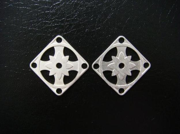 Elegant Earrings - Eight Petal Supported in Raw Silver