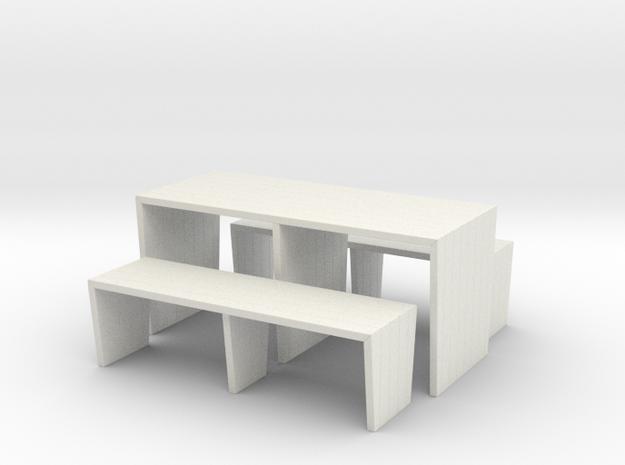 Modern Picnic Table in White Natural Versatile Plastic