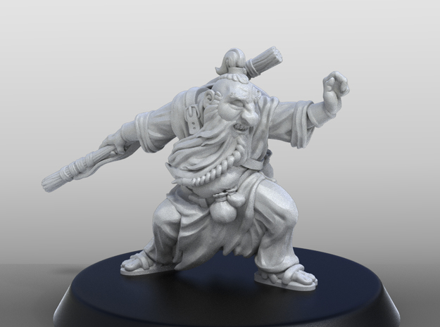 Dwarf Monk Adventurer in Smoothest Fine Detail Plastic