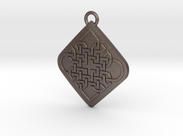 Endless Love Pendant 001 in Polished Bronzed-Silver Steel