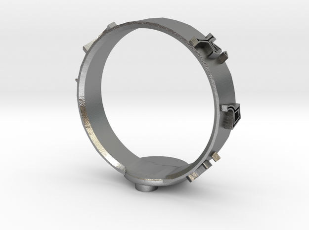 Stargate Dial Home Ring (size Z) in Natural Silver