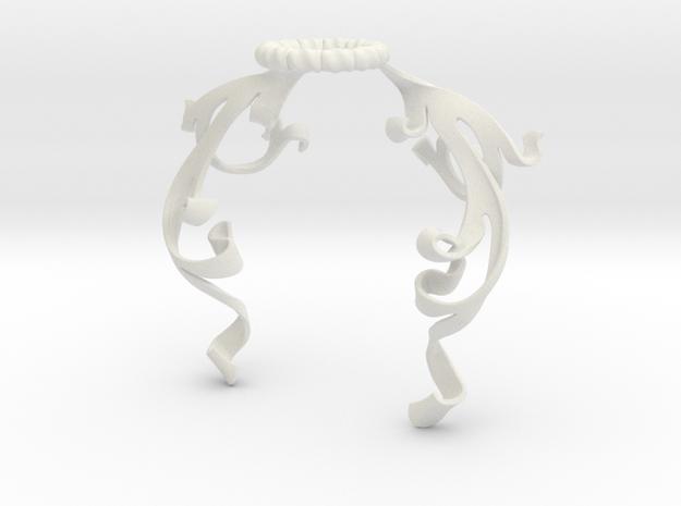 Vine Mantling (Symmetrical) in White Natural Versatile Plastic: Small