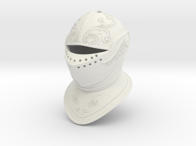 Ornate Closed Helm (For Crest) in White Natural Versatile Plastic: Small