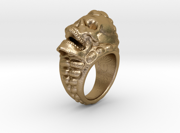 skull-ring-size 7.5 in Polished Gold Steel