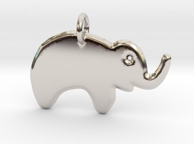 Minimalist Elephant Pendant in Rhodium Plated Brass