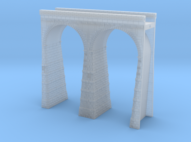 T-scale Stone Viaduct Section (2 Arches) - 75mm St in Smooth Fine Detail Plastic