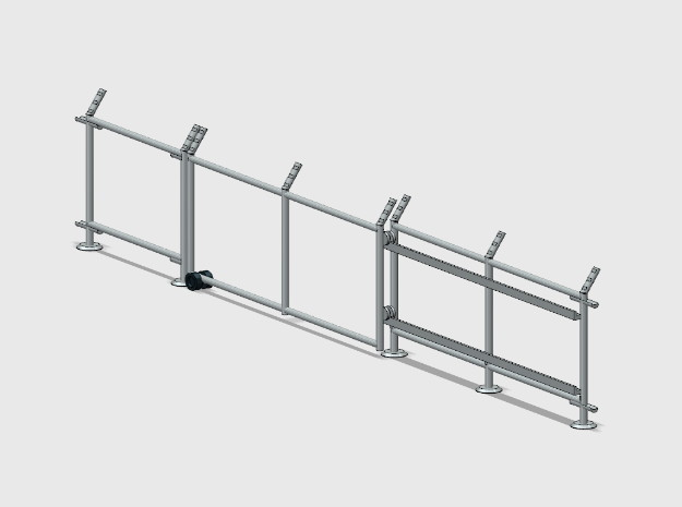 10' Chain-Link Fence - Sliding Gate - LS Latch in Smooth Fine Detail Plastic: 1:87 - HO