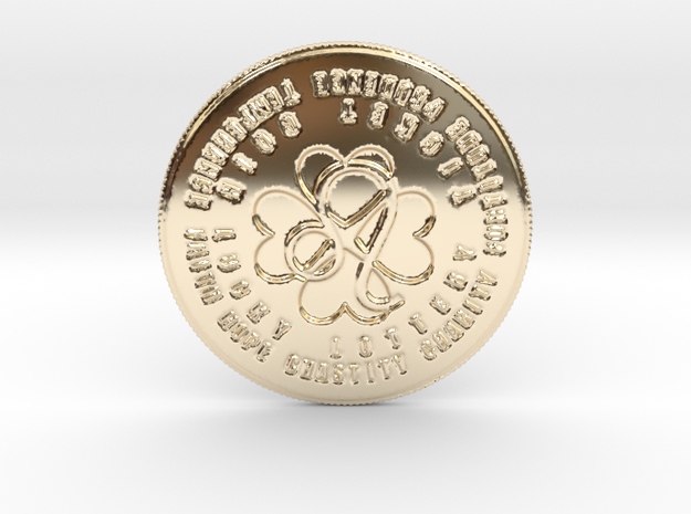 Leo Coin of 7 Virtues in 14k Gold Plated Brass