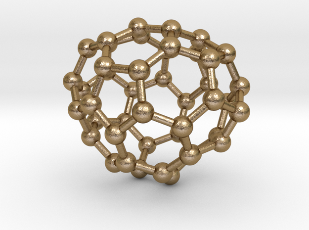 0683 Fullerene c44-55 c2v in Polished Gold Steel