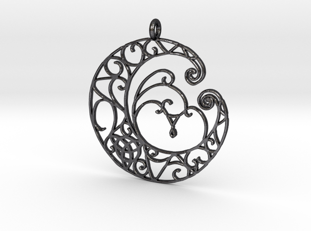Celtic Wiccan Moon Pendant  in Polished and Bronzed Black Steel
