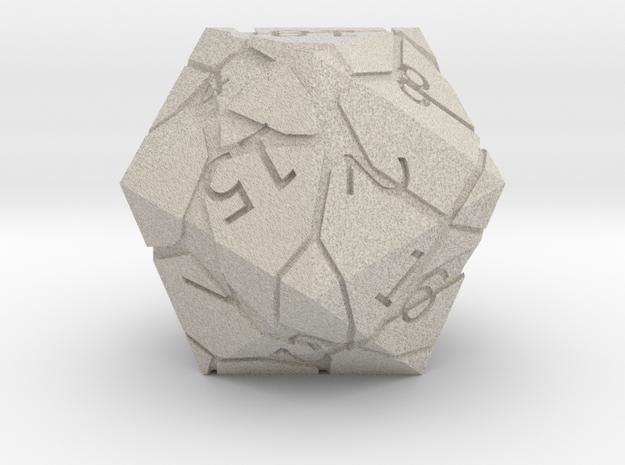 D20 Cracked Dice in Natural Sandstone