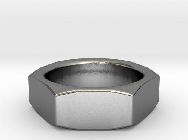 ISO 4035 Nut Ring in Polished Silver: 7 / 54