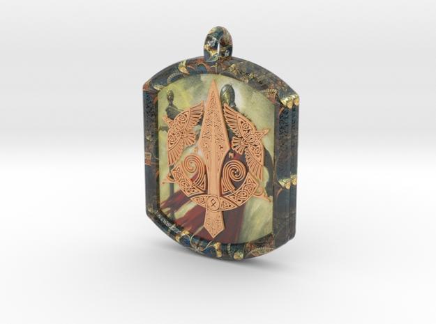 Celtic Triskelion Sword Pendant in Glossy Full Color Sandstone