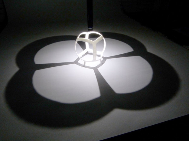 Cube (stereographic projection) in White Natural Versatile Plastic
