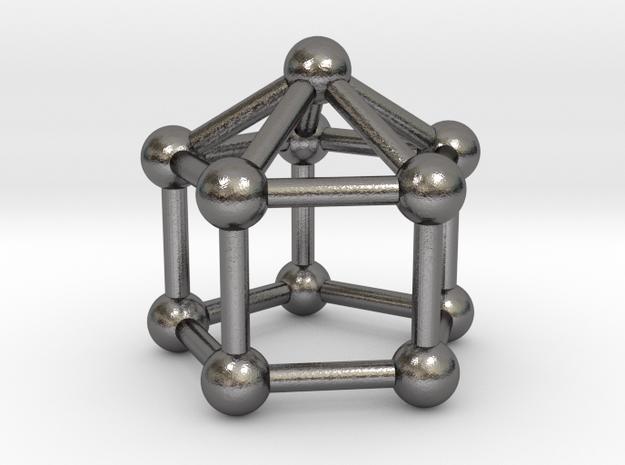 0745 J09 Elongated Pentagonal Pyramid (a=1cm) #3 in Polished Nickel Steel
