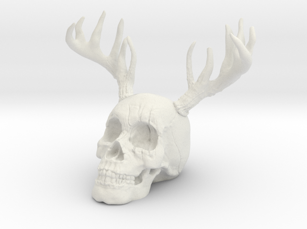 Antler Skull in White Natural Versatile Plastic