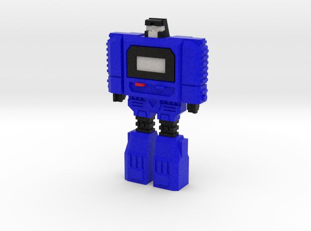 Retro Time Robot (Blue) in Natural Full Color Sandstone