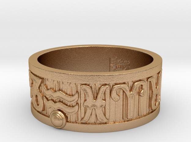 Zodiac Sign Ring Aquarius / 22mm in Natural Bronze
