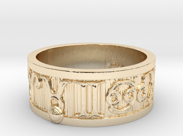 Zodiac Sign Ring Taurus / 22mm in 14k Gold Plated Brass
