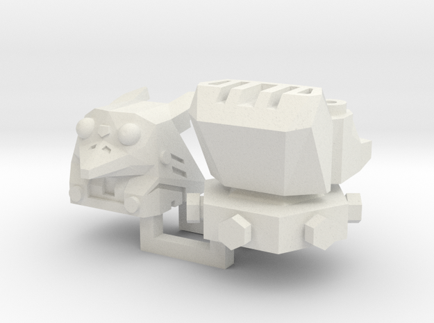 PotPie Fist Heads: Robo Penguin and Robo Dog in White Natural Versatile Plastic