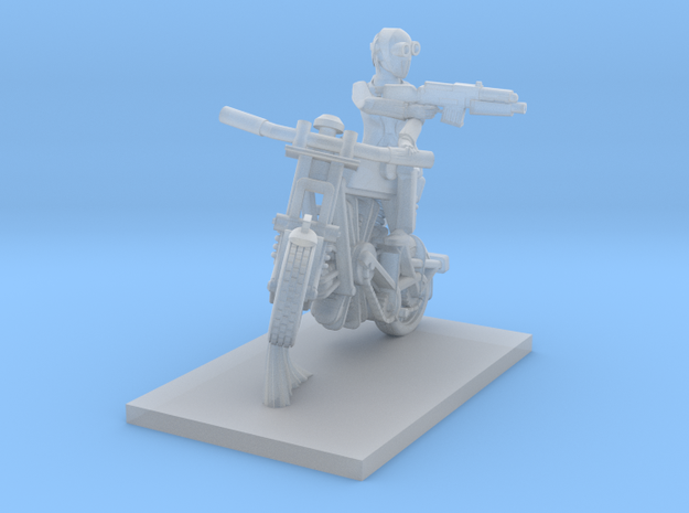 post apocalypse classic bike with posed man in Smooth Fine Detail Plastic
