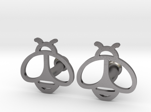 Honey bee cufflinks in Polished Nickel Steel
