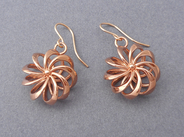 Rosette - Earrings in cast metals or steel in 14k Rose Gold Plated Brass