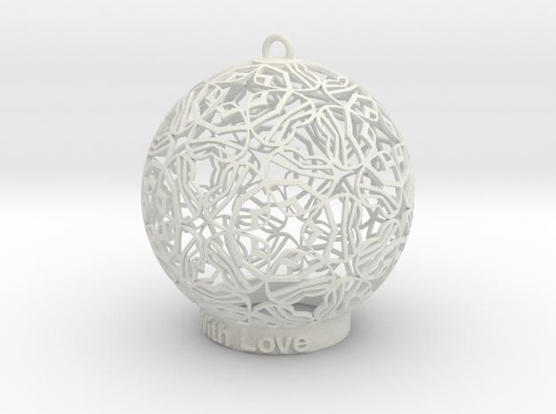 With Love Ornament in White Natural Versatile Plastic