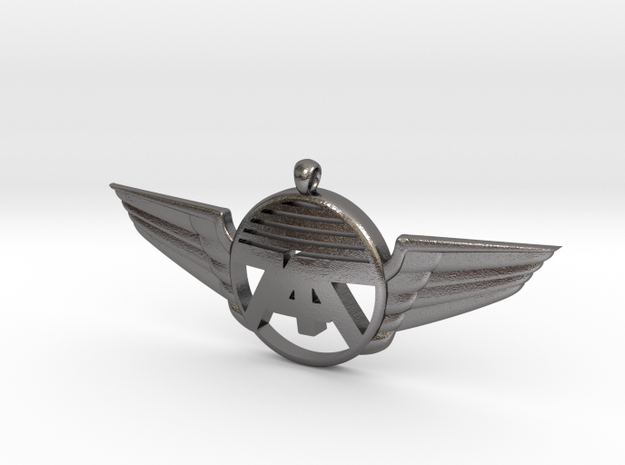 747 Wings Necklace in Polished Nickel Steel