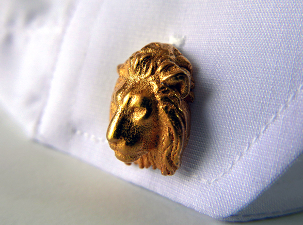 Lion Head Cufflinks in Polished Gold Steel