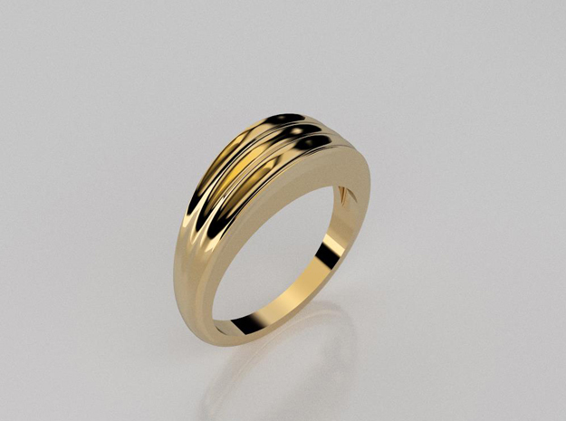 Striped band ring in 14K Yellow Gold: 5.5 / 50.25