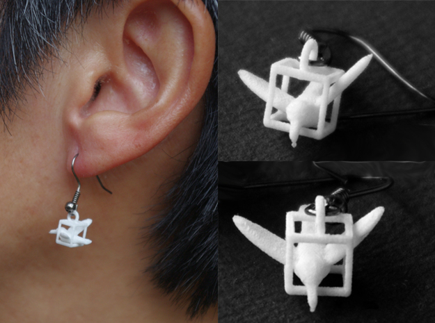 Trapped Hummingbird Earrings 3d printed Add a caption...