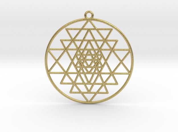 "Sri Yantra Pendant Optimal Pendant 2""  in Natural Brass"