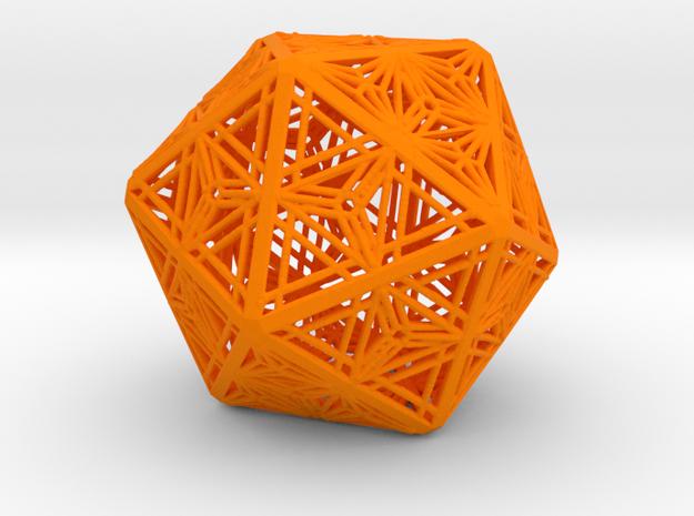 Icosahedron Unique Tessallation in Orange Processed Versatile Plastic