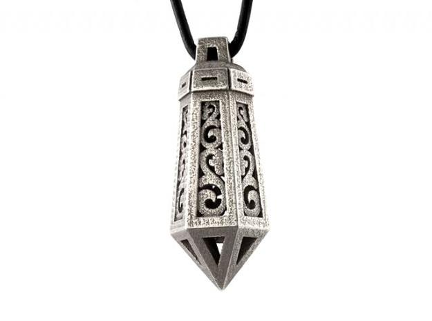Crystal Ornament Pendant in Polished Bronzed Silver Steel