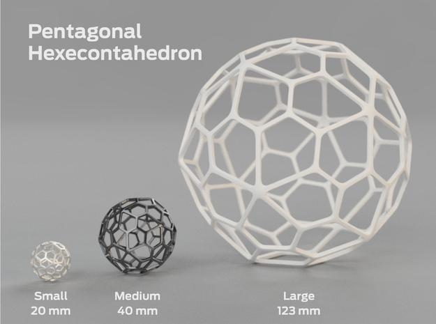 Pentagonal Hexecontahedron in White Processed Versatile Plastic: Medium