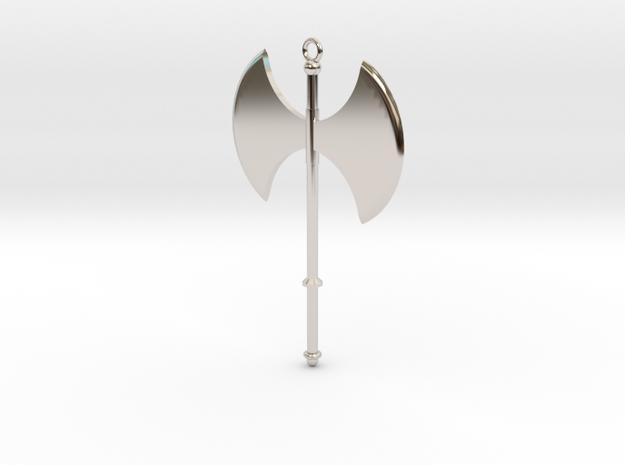 Battle Axe Charm (Pendant) #1 in Rhodium Plated Brass