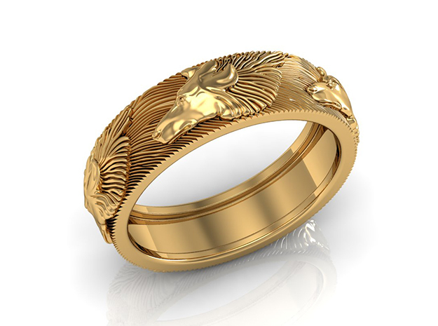 Wolf Ring in 18k Gold Plated Brass: 7.25 / 54.625