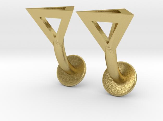 Tetrahedron Cufflinks in Natural Brass