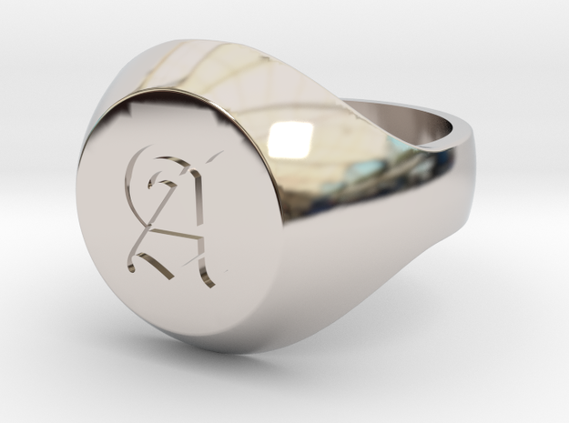 """Initial Ring """"A"""" in Rhodium Plated Brass"""
