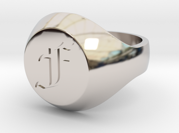 "Initial Ring ""F"" in Rhodium Plated Brass"