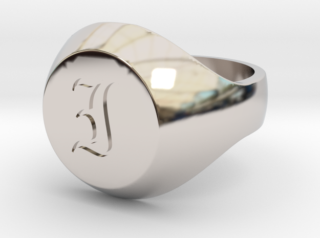 "Initial Ring ""I"" in Rhodium Plated Brass"