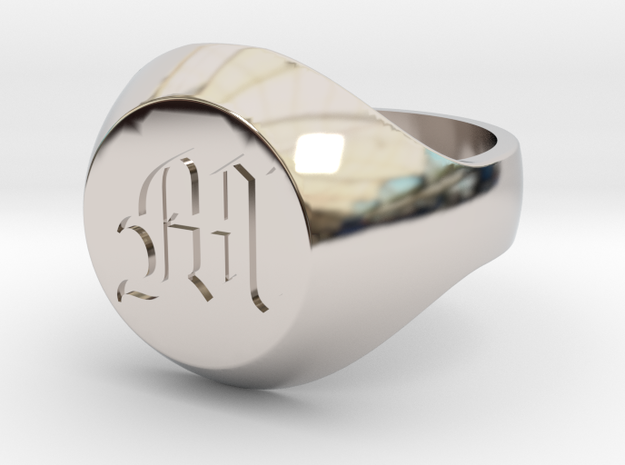 """Initial Ring """"M"""" in Rhodium Plated Brass"""