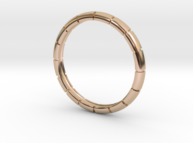 Traditional Ribbed Bracelet in 14k Rose Gold Plated Brass