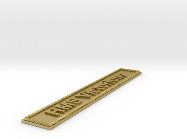 Nameplate HMS Victorious in Natural Brass