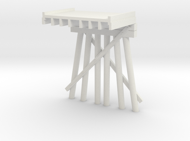 Part D Deck Trestle N (1:160) Modular Six Piles in White Natural Versatile Plastic