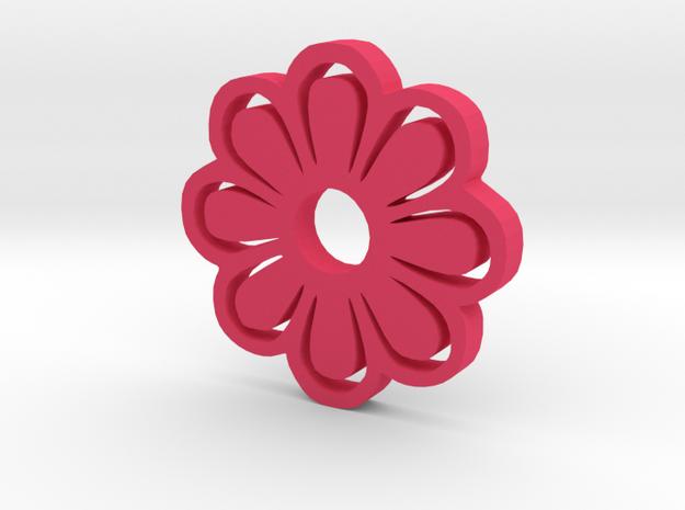Flower Silhouette Keychain in Pink Processed Versatile Plastic