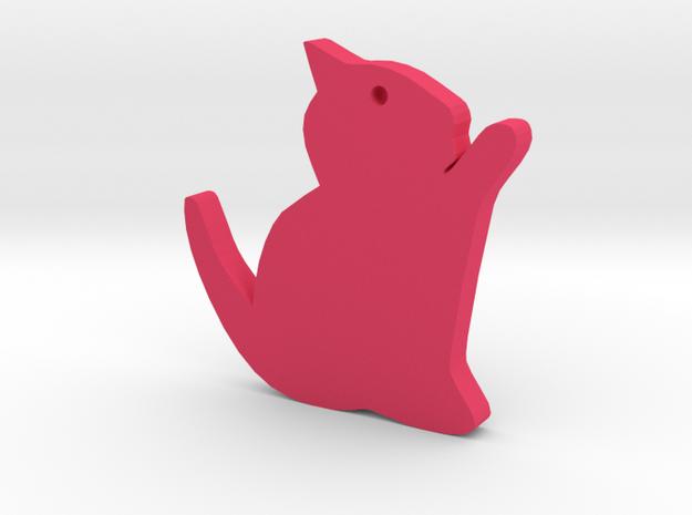 Kitten Silhouette Keychain in Pink Processed Versatile Plastic