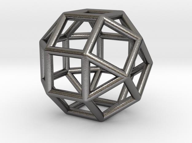 0824 J37 Elongated Square Gyrobicupola #1 in Polished Nickel Steel
